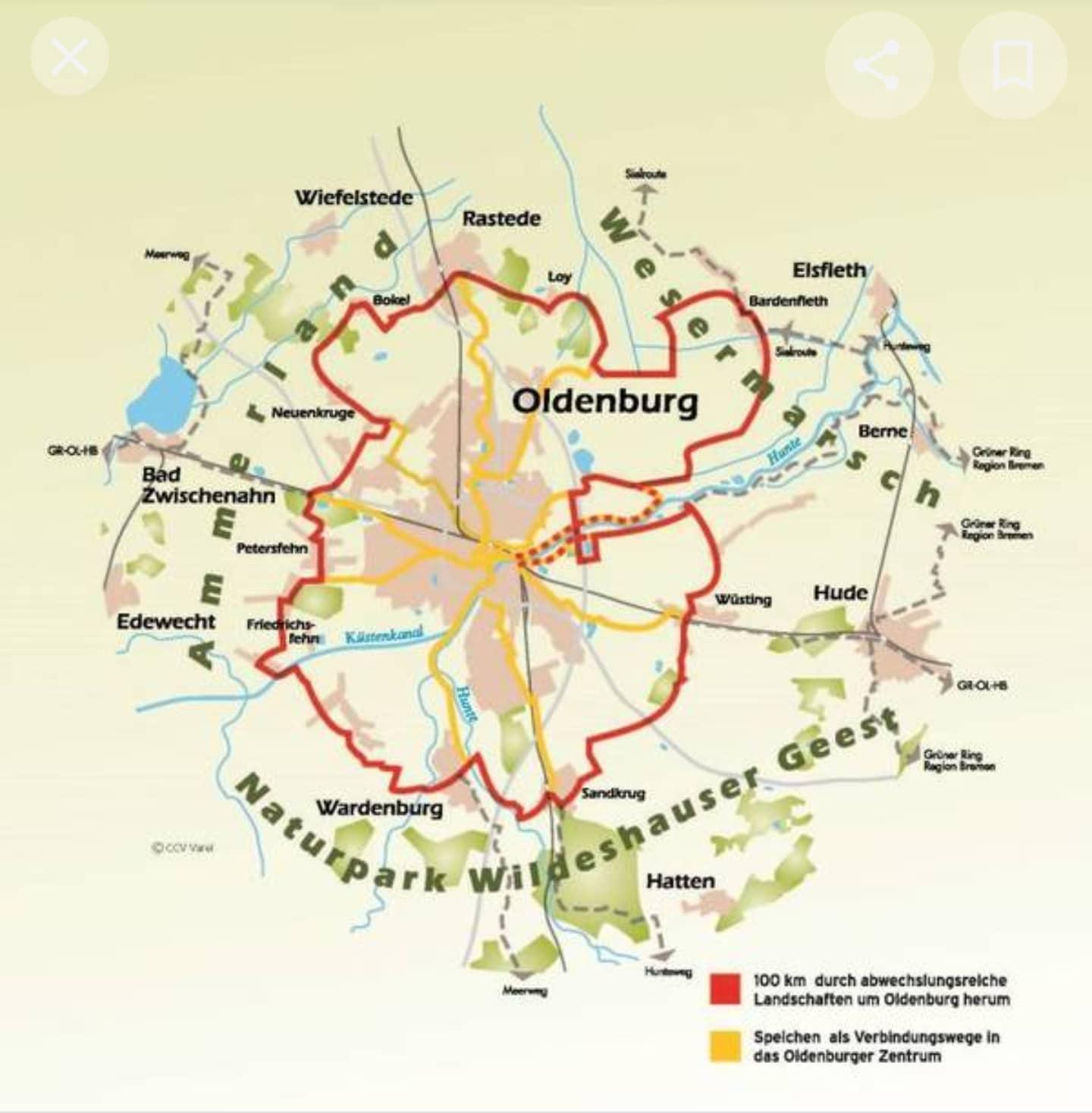 Kartenansicht Route um Oldenburg